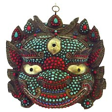 Dramatic Buddhist Mask - Dharmapala Turquoise and Coral Encrusted on Copper