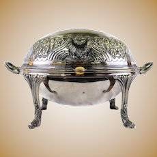 Antique Silverplate Rollover Roll Over Server Serving Bowl