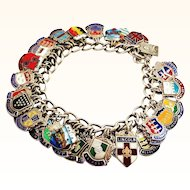 48 Loaded Enamel on Silver Travel Charms on Sterling Silver Bracelet