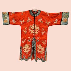 Antique Chinese Forbidden Stitch Embroidered Silk Court Robe with Imperial Dragons