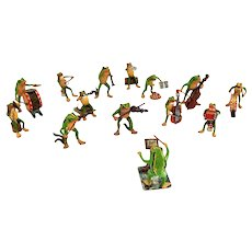 Adorable 14 Piece Vienna Austria Frog Band Orchestra Cold Painted Bronze