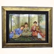 French Hand Painted Porcelain Plaque Chinoisserie Scene Orientalist Style
