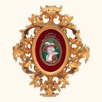 French Enamel Beauty Plaque in Ornate Gilt Frame Signed Lamy