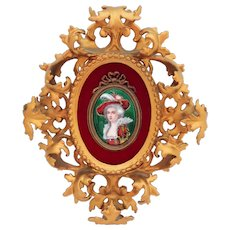 French Enamel Beauty Plaque in Ornate Gilt Frame Signed Lamy