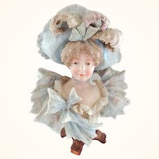 Gorgeous Rudolstadt Germany Porcelain Bust with Frilly Dress