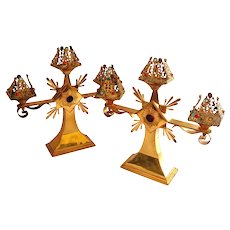 Pair of Jeweled Gilt Candelabra