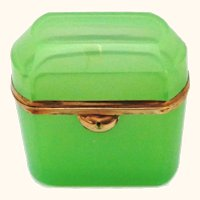 Antique French Green Opaline Casket Box