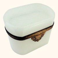 Antique White Opaline Casket Box