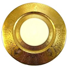 "8 Eight Gold Encrusted 10 3/4"" Charger Plates with Peacocks by Heinrich"