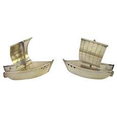 Figural Sterling 950 Boat Salt and Pepper Set
