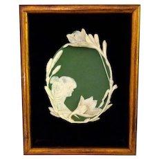 Framed Jasperware Jasper Ware Art Nouveau Plaque by Shafer & Vater (S&V)