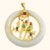 14K Gold and Jade Pendant with Two Perched Birds plus Ruby, Sapphire, and Opal Stones