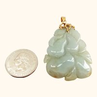 14K and Carved Jade Pear Pendant