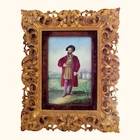 Hand Painted Porcelain Plaque in Ornate Rococo Gilded Frame