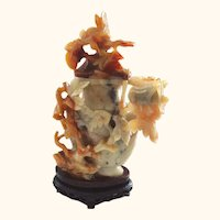 Chinese Hardstone Carved Jar or Covered Vase with Cricket