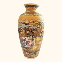 Extra Fine Satsuma Japanese Meiji Period Vase with Dragon Decoration