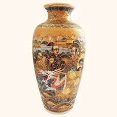 Extra Fine Satsuma Japanese Meiji Period Vase with Dragon Decoration