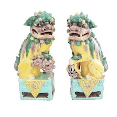 Pair of Magnificent Foo Dogs with Buggy Google Eyes - Great Color