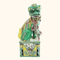 Mama Foo Dog with Pup Elaborately Decorated Very Fine Famille Verte
