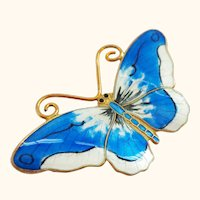 OPRO Norway Enamel on Sterling Beautiful Blue and White Butterfly Pin Brooch