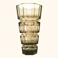 """10"""" Tall Josef Hoffmann Moser Faceted Smokey Topaz Glass Vase"""