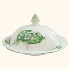 Lily of the Valley Shelley England Dainty Shaped Covered Butter Dish or Muffin Dish
