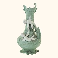 """Spectacular Large 11"""" Fine Condition Volkstedt Jasperware Vase with 3-D Angels"""