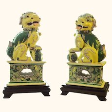 Gorgeous Pair of Famille Verte (or Famille Jaune) Chinese Foo Dogs - Butterfly Decorated