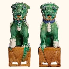 """Very Large 17 1/2"""" Tall Pair of Foo Dogs Famille Verte"""