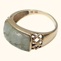 14K and Carved Jade Ring Size 10