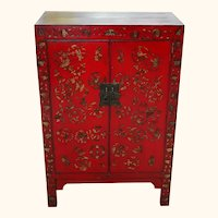 Chinese Red and Gold Painted Lacquered Cabinet