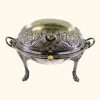 Ornate Antique Silverplate Rollover Roll Over Server Serving Bowl