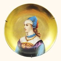 Beautiful Hand Painted Portrait of Young Woman with Gold Background