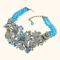 Splendiferous Heidi Daus Seashore Chic Necklace in Shades of Aquamarine Blue