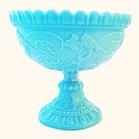 Scarce Antique Portieux Blue Milk Glass Chimera Pattern Pedestal Bowl