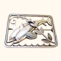 Classic Georg Jensen Sterling Silver Dolphins Pin