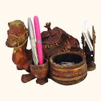 Egyptian Revival Figural Camel Desk Set