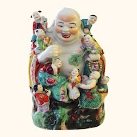 Lucky Large Vintage Chinese Laughing Buddha with NINE (9) Children - Happy Symbolism