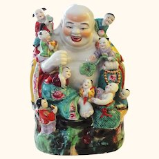 Unique Large Vintage Chinese Laughing Buddha with NINE (9) Children - Happy Symbolism