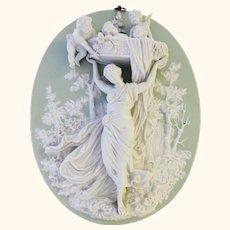 Basket Full of Angels Antique Jasperware 3 Dimensional Plaque Semi-Nude