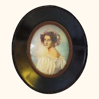 Hand Painted Portrait from King Ludwig's Gallery of Beauties - NOT on Ivory
