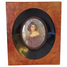King Ludwig's Hand Painted Portrait in Burled Wood Frame