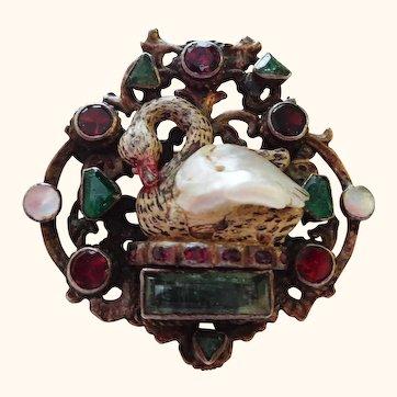 RARE Austro Hungarian Figural Swan Brooch Pin with Baroque Pearl, Emeralds, Garnets, Enamel