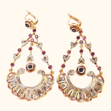 Belle Epoque Large 14k Gold Diamond Sapphire and Ruby Chandelier Earrings