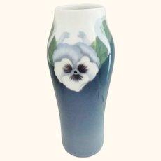 "Royal Copenhagen Pansy Decorated Vase 8 3/4"""