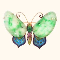 Gilt Silver Chinese Jade and Enamel Butterfly Pin Brooch