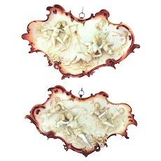 EXTREMELY RARE Volkstedt Pair of Plaques with Musical Theme and Many Cherubs Very 3D