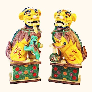 """Remarkable 14"""" Famille Jaune  Chinese Foo Dogs - Unique Long Tongue!!"""