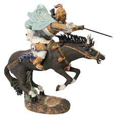 Dynamic Shiwan Shekwan Chinese Charging Warrior on Horse 25 Inches
