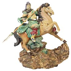 Dynamic Shiwan Chinese Warrior on Horse with Long Weapon Signed and Very Large!!